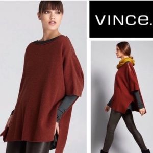 Vince rust ribbed oversized poncho
